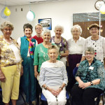 Green Valley MOAA Auxiliary hosts fourth annual Baby Shower for 162nd FW, AZANG. Left to right from back: Jackie Dow, Sharon Rychener, Judy Knox, Betty Atwater, Gisela Dolney, Betty Deardorf and Fran Labossiere; front, Barbara Brown and Lynda Linker