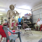 Tim Trask with eight foot statue in progress
