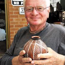 Ron Sullivan showing his Mata Ortiz Mexican Pottery