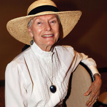 President of the Docent Council of the Arizona Historical Society Southern Division Shirley Pinkerton dressed in period costume for her performance for TWOQC; photo by Eileen Sykora.
