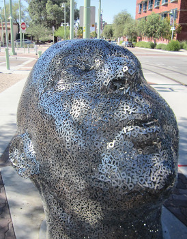 Poet's head sculpture at the end of the Streetcar route