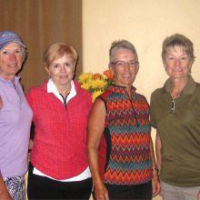 Left to right: First place winners of each of the four flights in the three day club championship tournament: Betty Martens, Ann Brooks, Sherry Morris and Bessie Moretto. Congratulations, ladies!