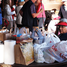 Cindy Mayron surveys just a few of the items donated for the Green Valley/Sahuarita Food Bank.