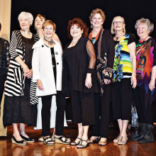 Quail Creek models wearing fashions from Nancy Pantz, left to right: Sylvia Perry, Shirley Patterson, Maribeth Hill, Peggy Mulcahy, Bonnie Hyra, Kathi Krieg, Nancy Hoppe, Joanna Miller, Kristee West, Nancy Wilson and Suzan Bryceland; photo by Eileen Sykora
