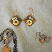 Creative Metalwork earrings and pendant