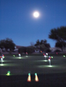 An alien visit? No, just the set-up for the Lady Putters Moonlight Madness that gave an eerie look to the putting green; photo by Sylvia Butler.