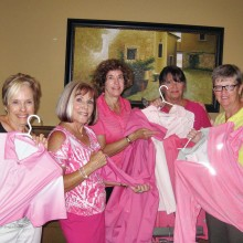 It's all about pink! Some of the committee working on the Rally for the Cure this year are, left to right: Dee Wagoner, Sherry Gall, Paula Scafuri, Sharon Hayes, Cathy Thiele and Gail Phillips