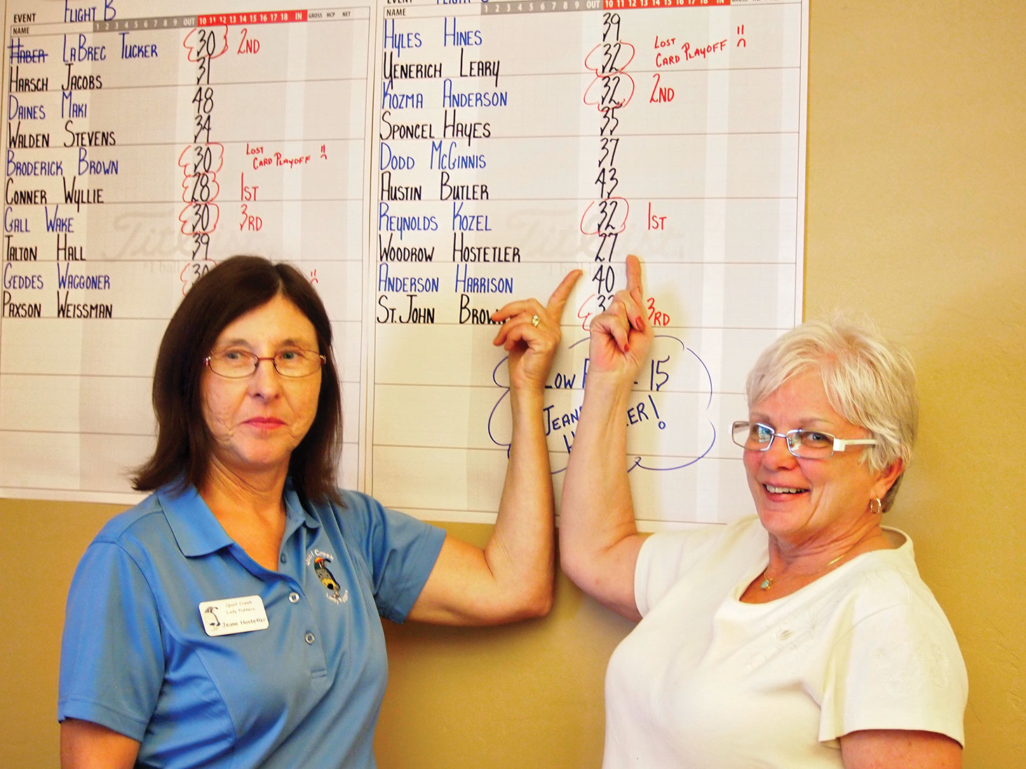 Jeane Hostetler and Karen Woodrow were all smiles when it was announced that they had the low score for Flight C at the Niner/Putter golf tournament. At 15 strokes Jeane had the lowest putting score for the nine holes.