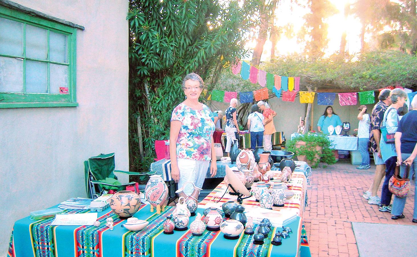 Quail Creek resident Vicki Sullivan at Mata Ortiz pottery booth