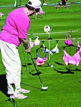 Putting under a clothesline of pink bras was a challenge; photo by Fred Waggoner.