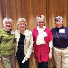 Happy door prize winners: Peggy Bailey, Mary Lou Kiger, Nancy Wilson and Janet Connell. Photo by Marianne Cobarrubias
