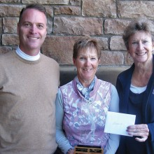 Left to right: Joel Jaress, club pro; Karen Stensrud, club champion; and Nancy Hoppe, tournament manager