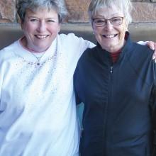 Flight Five winners Jan Ranney, first, and Karen Cofran, second