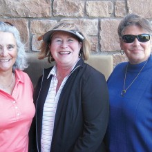 Flight Two winners Peg Avent, third; Pat Tillapaugh, first; and Sharon Hayes, second