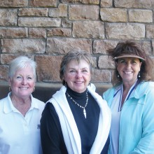 Flight Four winners: Carolyn McBride, third; Sharon Lisping, second; and Terri Conine, first