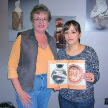 "Quail Creek resident Vicki Sullivan with master potter Celia Veloz at Arizona-Sonora Desert Museum's exhibition of ""The Women Potters of Mata Ortiz"" in 2013."