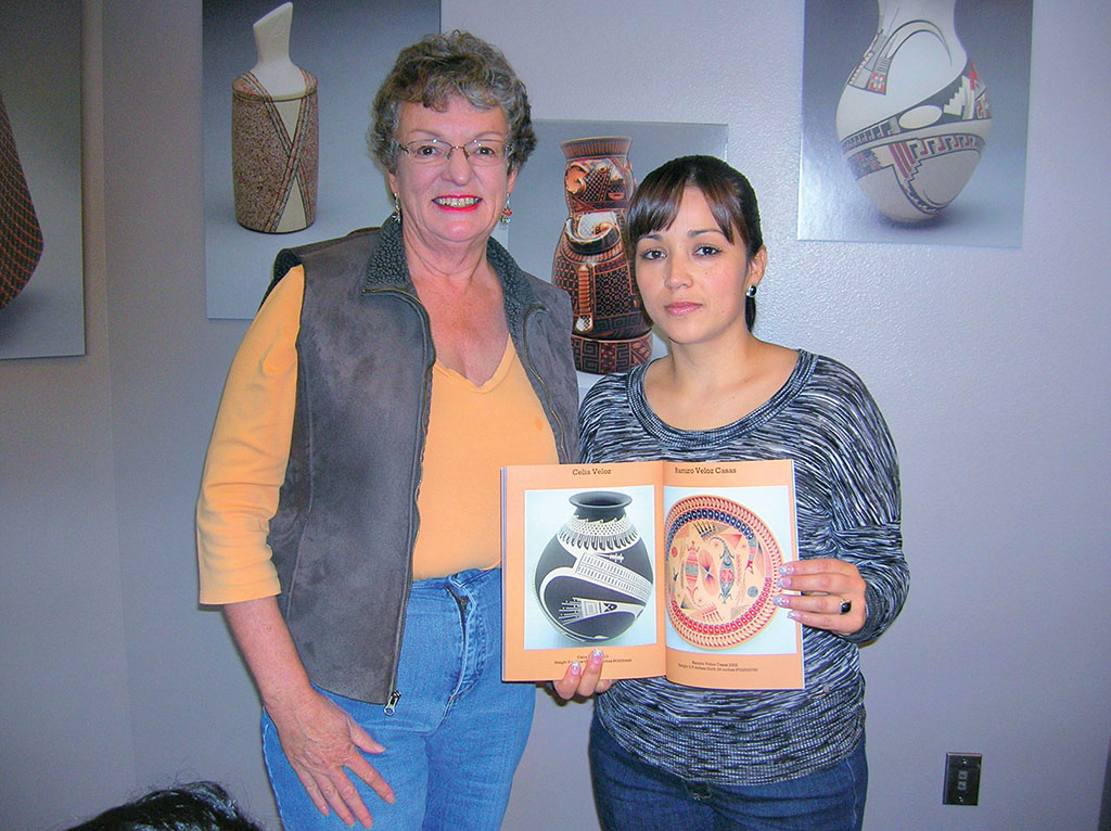 "Quail Creek resident Vicki Sullivan with master potter Celia Veloz at Arizona-Sonora Desert Museum's exhibition of ""The Women Potters of Mata Ortiz"" in 2013."