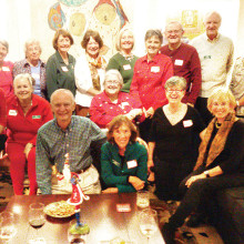 The Monday Night Book Club at their annual holiday party.