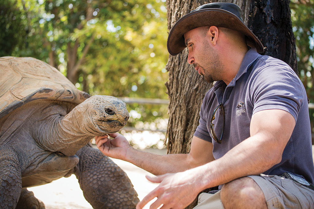 Jed Dodds and friend at the Reid Park Zoo
