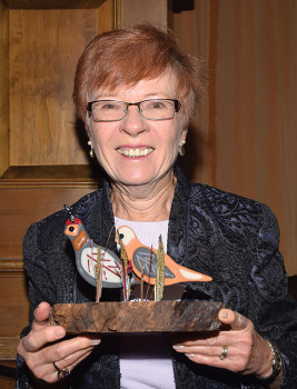 Peggy McGee with her special recognition quails.