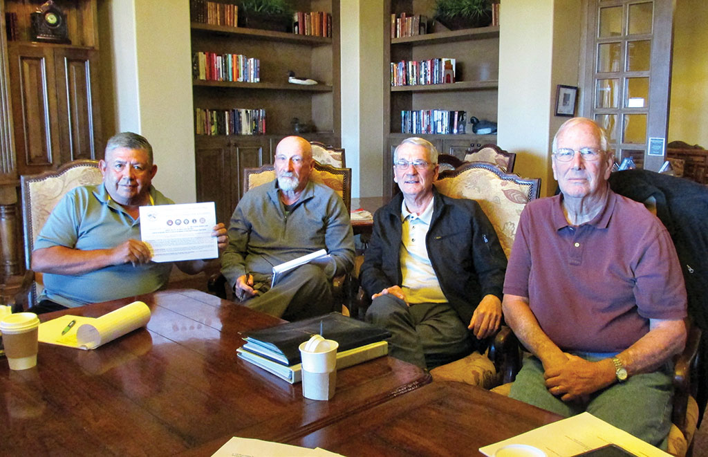 "Getting ready for 2016. Tournament Chairman Rene Gill, CD ""Jake"" Jacobs, Gunter Schmidt and Jim Robinson work on the tournament plans for 2016."