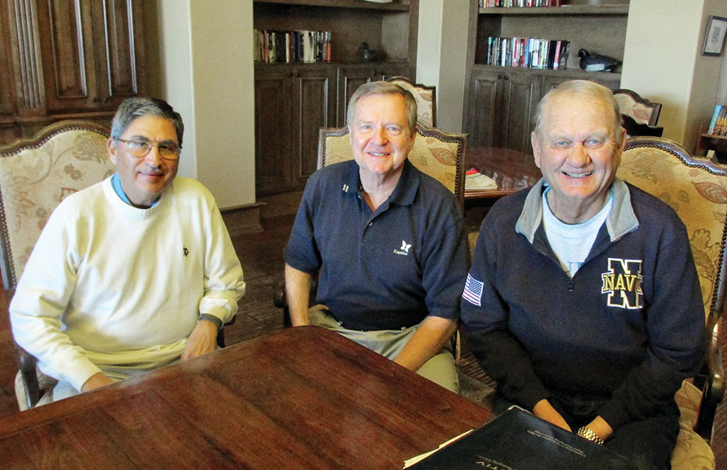 New QCVGA Board gets to work. Past-President Tom Contreras, 2016 President Tom Haberer and Vice President Ted Schelenski work on plans for 2016.