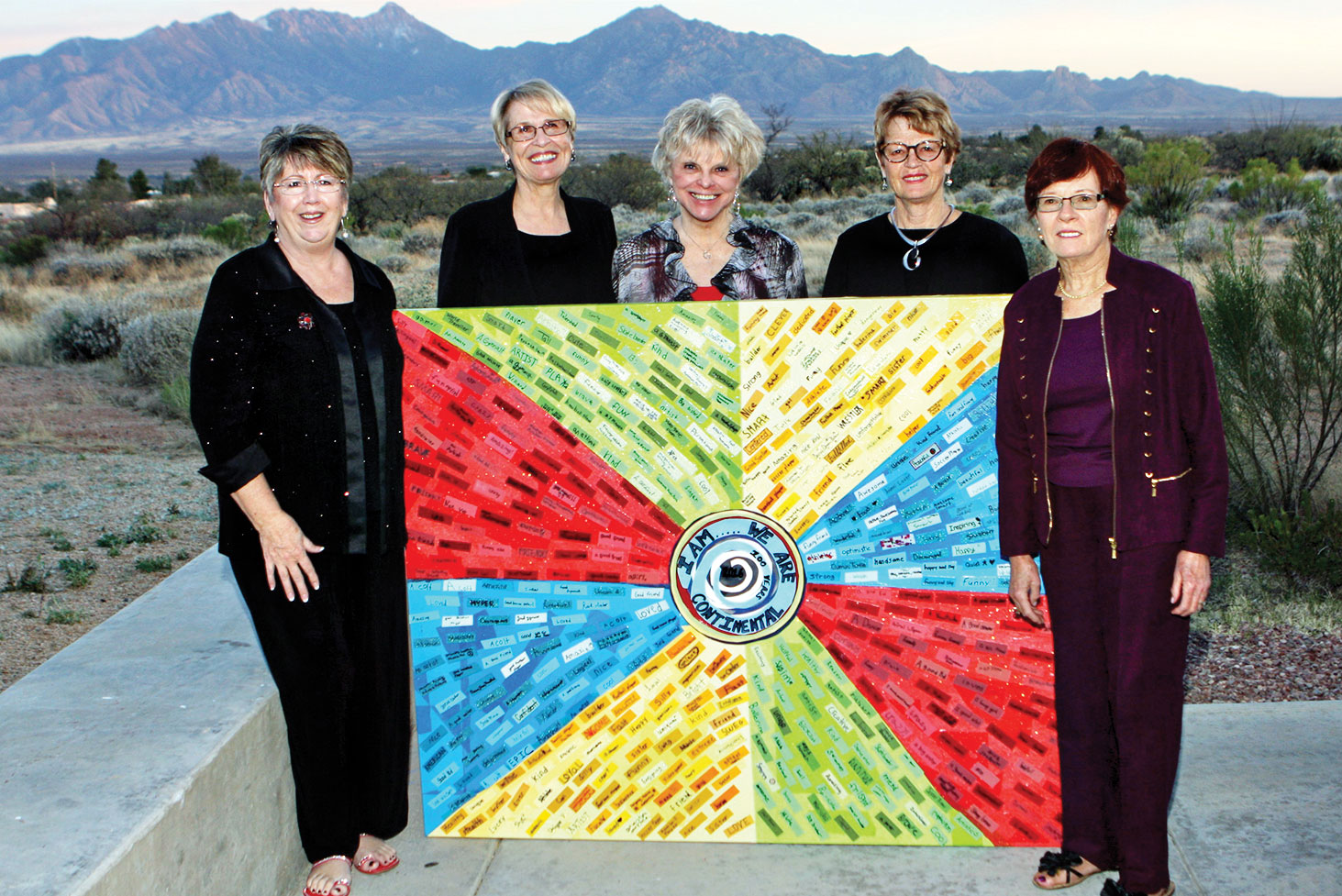 TWOQC members attending the Sweet Art Gala (left to right): Carol Mutter, Janice Pell, Nancy Wilson, Pat Neel and Peggy McGee; photo by Mike Turner