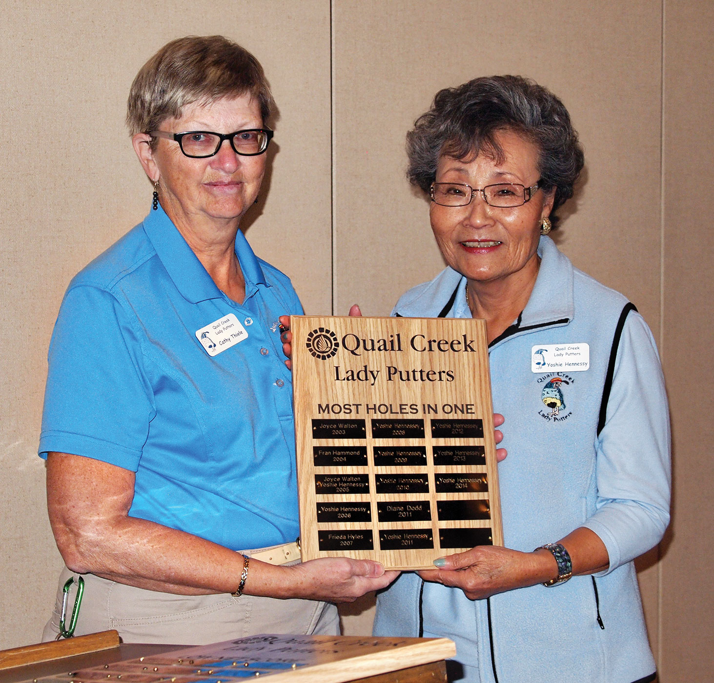 Putters President Cathy Thiele (left), gives Yoshie Hennessey a plaque for scoring 81 holes-in-one during 2015; photo by Sylvia Butler.
