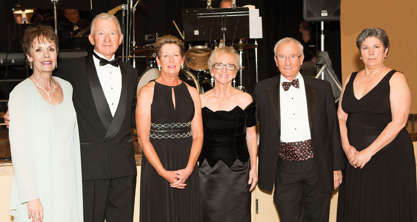 Ballroom Dance Club Board of Directors: Publicity Chair Dodie Prescott, President Robert Lewis, Membership Chair Justine Lewis, Food & Beverage Chair Mary Lou Johnson, Treasurer Tom Sullivan and Secretary Lenore O'Connell. Not pictured: Music Chair Steve Otrosa and Past President/Advisor Steve Huhta