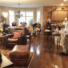 Nurses of Quail Creek meet periodically to hear guest speakers and enjoy dinner together. Here David Martin of Youth On Their Own (YOTO) presented information on children who don't have a parent representative in their lives.