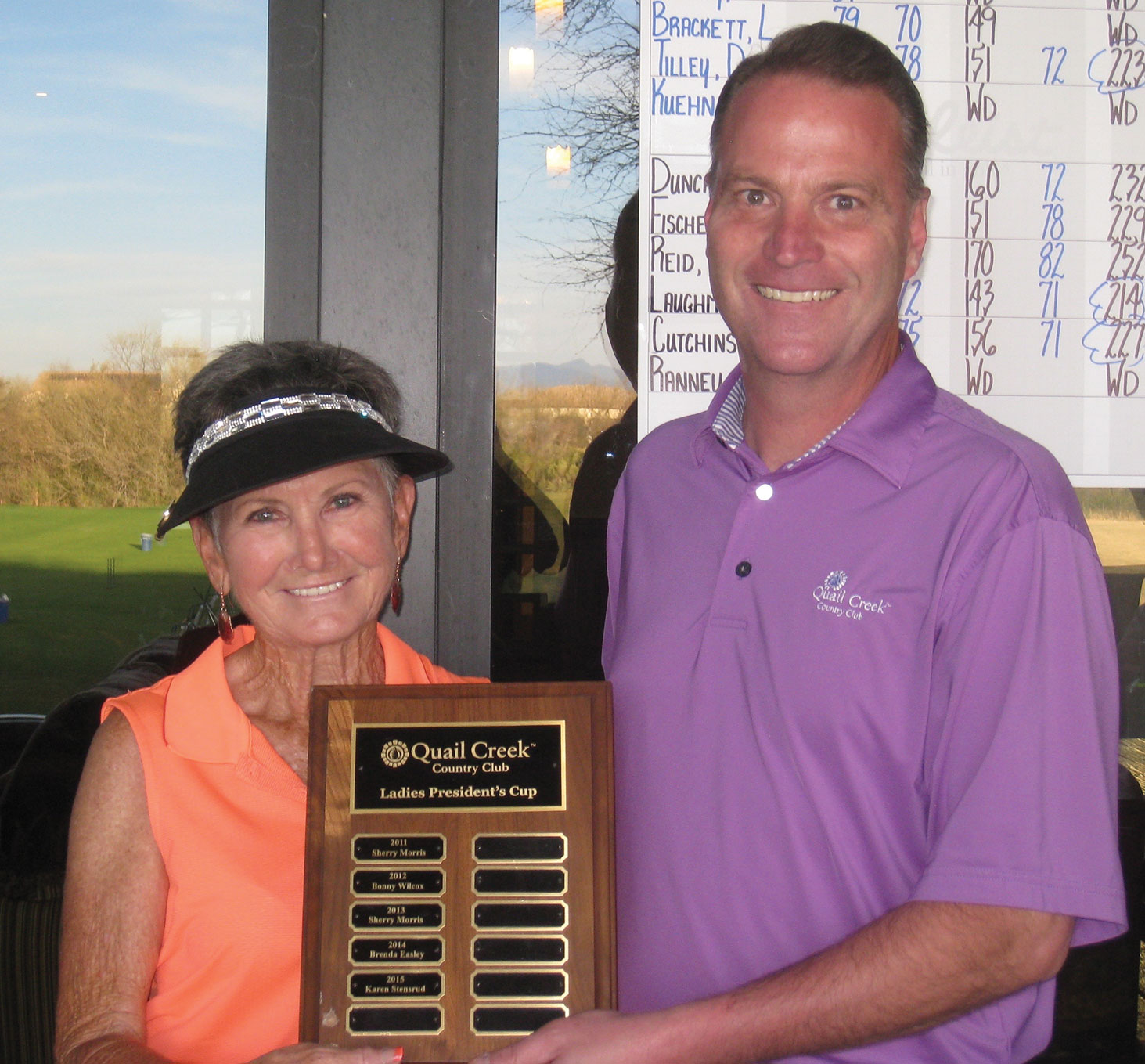 Congratulations to Chris England, the winner of the QCLGA's President's Cup. The 18 hole club contest is a three day low net flighted tournament. Chris is pictured here with Club Pro Joel Jaress claiming her prize on March 3.