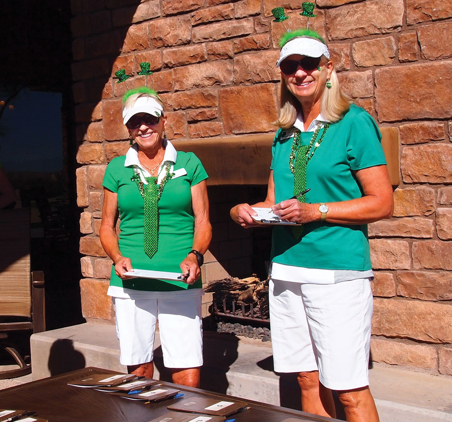Left to right: Diane Dodd and Mary Anderson were Irish, at least for the day; photo by Sylvia Butler.