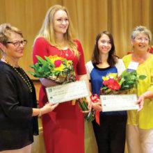 From left: Pat Neel, Scholarship Committee chairperson; Kayla Christiansen, Sahuarita High School; Carly Frieders, Walden Grove High School; Carol Mutter, president TWOQC