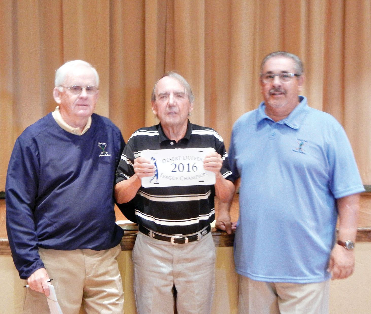From left: Desert Duffer President Russ Sipe, 2016 Club Champion Peter Prairie and Vice President Ed Pope