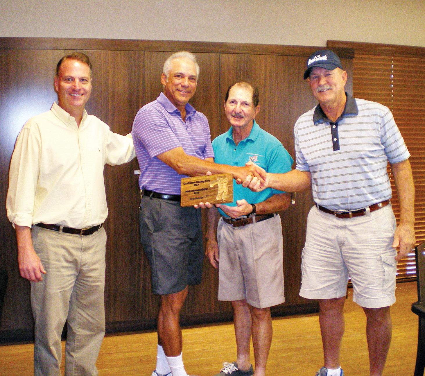 Left to right: Head Golf Professional Joel Jaress, Rick Bobillot, Men's Club President Skip Fumia and Handicap Chairman Dave Schutt