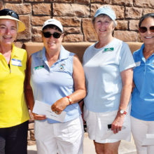 Left to right: Members of the first place team, Linda Weissman, Kris Weinberg, Cathy Leary, and Lynda Pilcher were each awarded $15; photo by Eileen Sykora