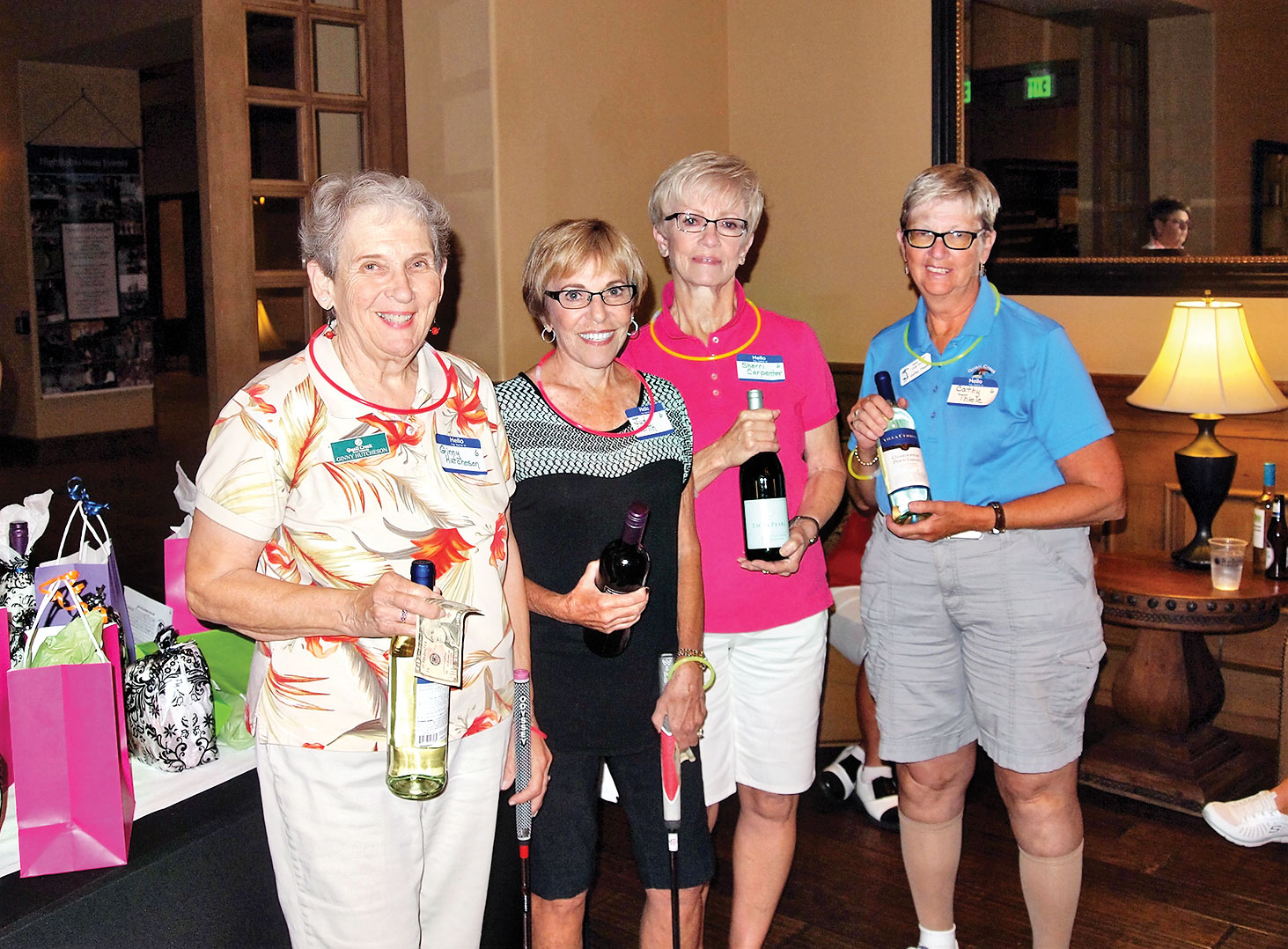 Left to right: First place team winners Ginny Hutchison, Judy Kerlin, Sherri Carpenter and Cathy Thiele were delighted with their prizes; photo by Sylvia Butler.