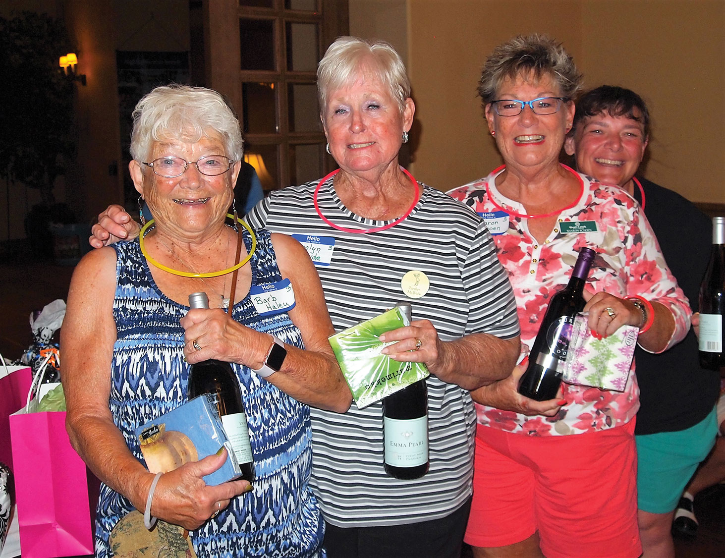Left to right: Barb Haley, Carolyn McBride, Sharon Schoen and Kim Schoen were on the second place team; photo by Sylvia Butler.