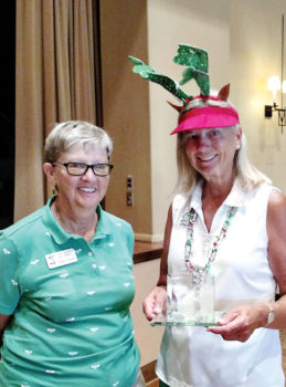 Most holes-in-one award Mary Anderson (right) with Cathy Thiele; photo by Sylvia Butler
