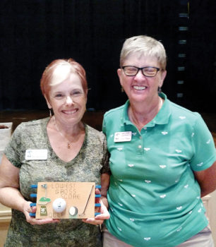 Low Gross award Dee Waggoner with Cathy Thiele; photo by Sylvia Butler