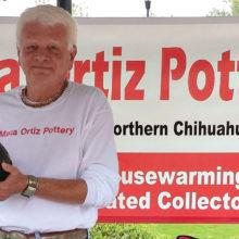 Ron Sullivan displays a Mata Ortiz vessel.