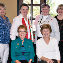 TWOQC coupon coordinators, (rear) Judy Poffenbarger, Lois Connell, Janet Connell, Peggy Richmond; (front) Peggy McGee, Mary Lou Kiger; photo by Eileen Sykora