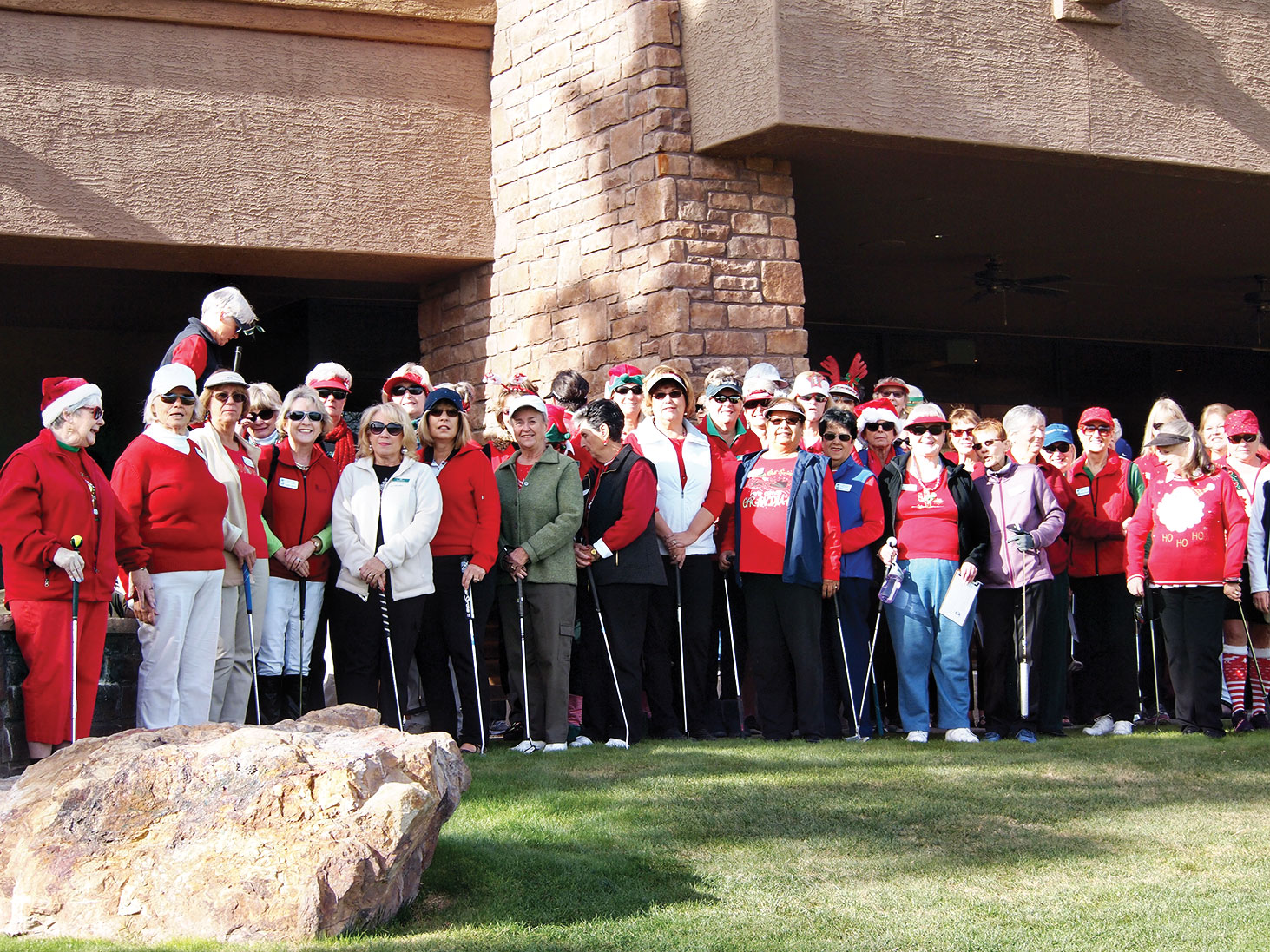 The Lady Putters donned the colors of the season for the annual holiday luncheon; photo by Sylvia Butler