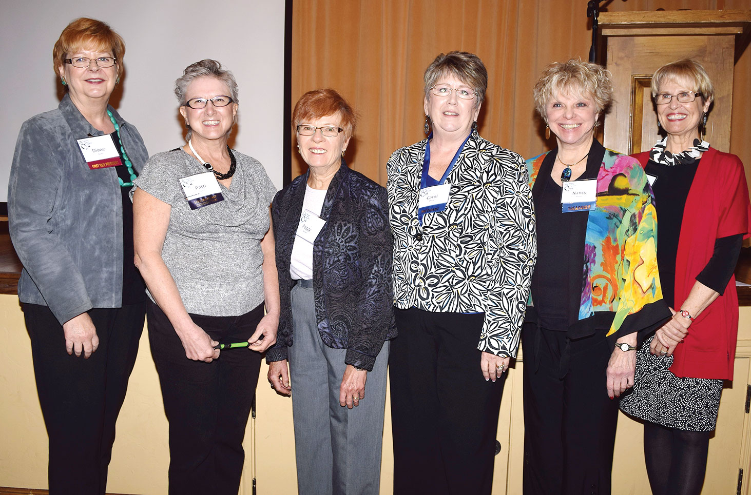 TWOQC 2016 Board members, left to right: Diane Quinn, outgoing member Patti Giannasi, Peggy McGee, Carol Mutter and outgoing members Nancy Wilson and Janice Pell. Absent: Sue Ann Obremski; photo by Eileen Sykora