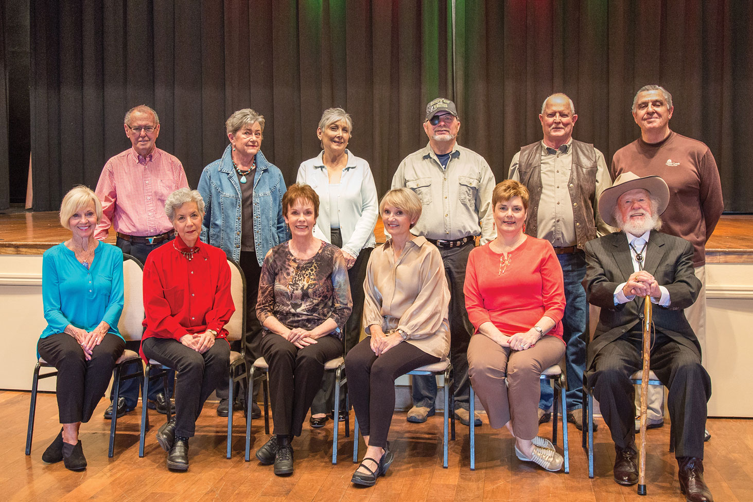 Seated (left to right): Sandy Boyer, Audrey Fatula, Dodie Prescott, Pam Campbell, Diana Paul, Jerry Smith. Standing: Frank Gunn (assistant director), Sandy Haegele, Nancy Gibbs, Ray Hebert, Andy Bailey, Davey Jones (director). Not pictured: Tim Jasperson; photo by Jeff Krueger