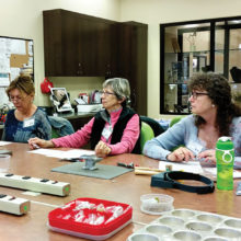 Barb Shelor, Joan Athey, Marsh Royer in Riveting Class