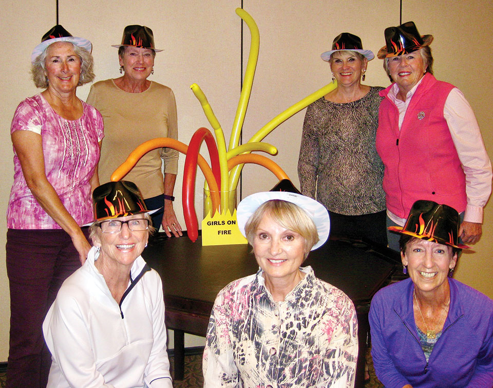 Back row: Chris Gould, Holly Crombie, Linda Klaus, Marci Yenerich; front: Mary Lou Johnson, Pam Campbell and Beth Davis