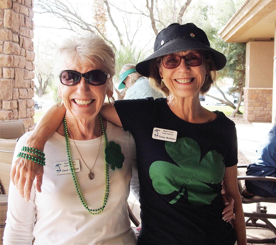 Carol Jackson (left) and Jenny McGinnis sported shamrocks; photo by Sylvia Butler.