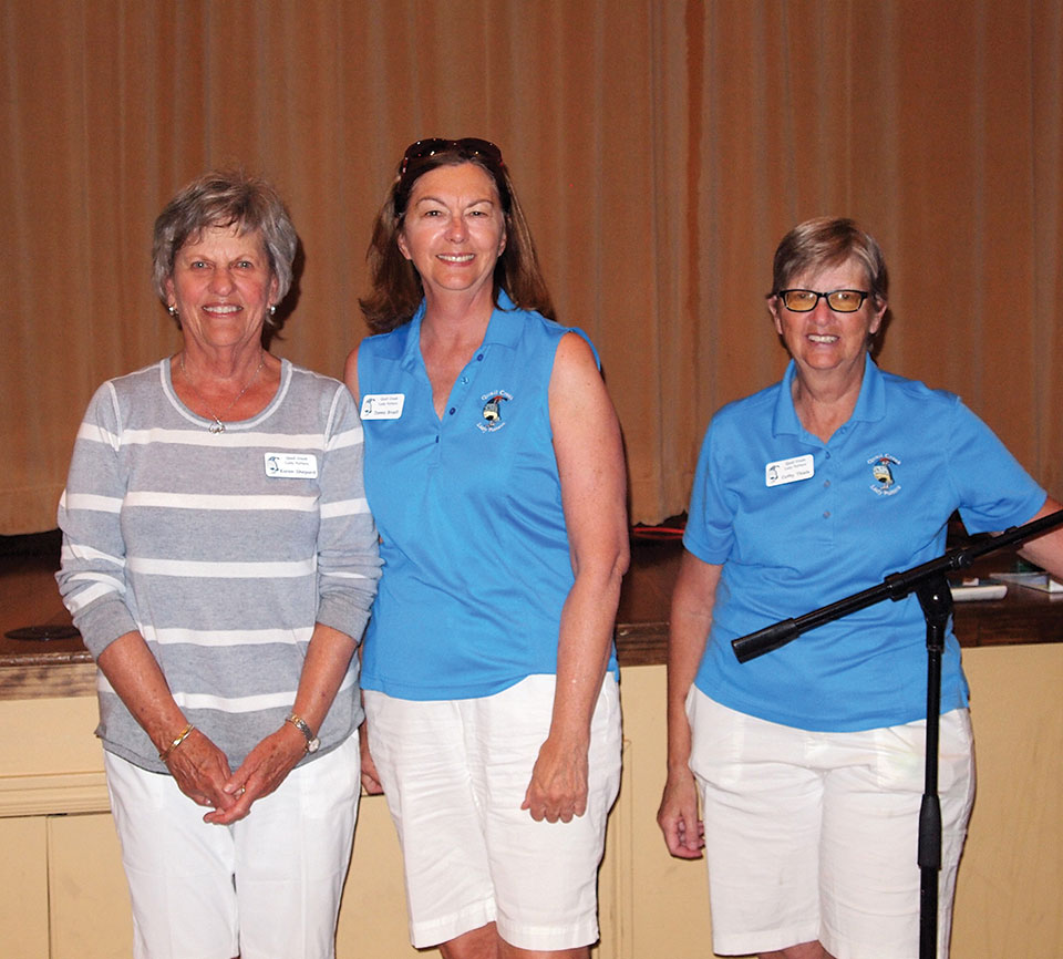Left to right: Karen Shepard and Janet Bruell who achieved a score of under 40 for the first time are shown with Cathy Thiele; photo by Sylvia Butler.