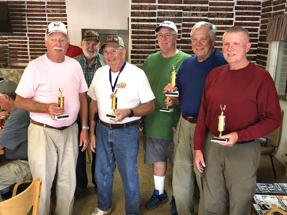 Top shooter from each Robson Community, left to right: Ron Schroer, Robson Ranch; Roger Fendt, Quail Creek; Darwin Puls, PebbleCreek; Charles Chapman, Sun Lakes; Bruce Engle, SunBird and Dave Sack, SaddleBrooke